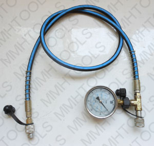 hydraulic hose with pressure gage